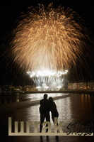 Couple. Fireworks. San Sebastian, Basque Country, Spain