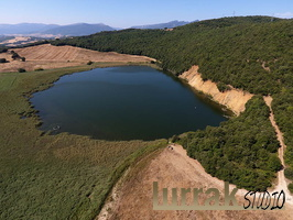 From the Air. Caicedo Yuso Lake, Arreo. Basque Country, Spain